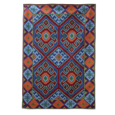 Ravello Four Suns Hand-Woven Wool Orange/Blue Area Rug