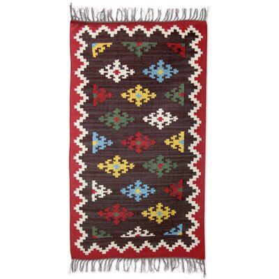 Ravenna Floral Gala Hand-Woven Wool Brown/Red Area Rug