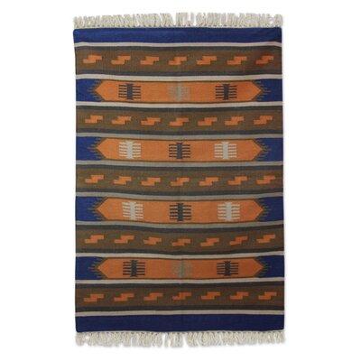 Mraz Dhurrie Horizon Hand-Woven Wool Blue/Orange Area Rug