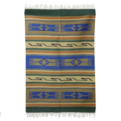Mulcahy Dhurrie Hands of Friendship Hand-Woven Wool Blue/Brown Area Rug
