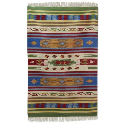 Raynerson Tribal Skies Dhurrie Hand-Woven Wool Blue/Beige Area Rug