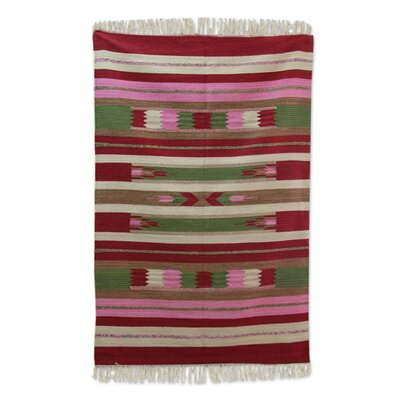 Reading Rose Energy Dhurrie Hand-Woven Wool Red Area Rug