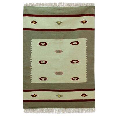 Mulder Dhurrie Hand-Woven Wool Beige/Brown Area Rug