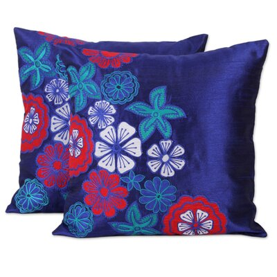 Epstein Sapphire Garden Applique Pillow Cover