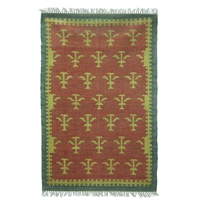 Regency Trees Dhurrie Hand-Woven Orange Area Rug