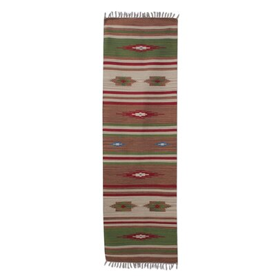 Mulford Floral Hand-Woven Wool Brown Runner Rug