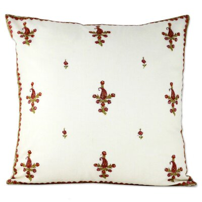 Bourland Paisley Blooms Wool Pillow Cover Color: Ivory