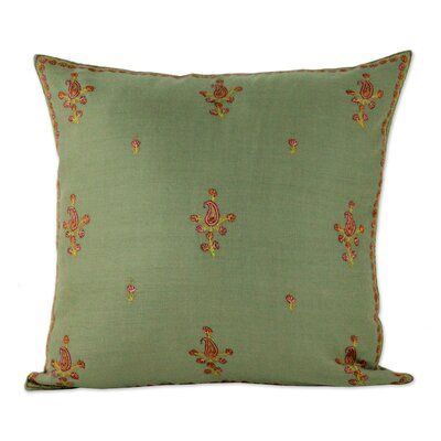Bourland Paisley Blooms Wool Pillow Cover Color: Green