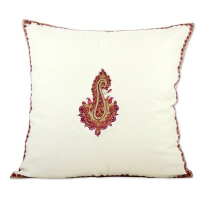 Shuttleworth Glorious Bloom Embroidered Wool Pillow Cover Color: Ivory