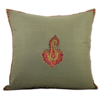Shuttleworth Glorious Bloom Embroidered Wool Pillow Cover Color: Green