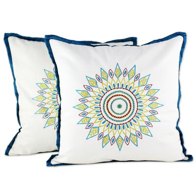 Rockford Leafy Circle Embroidered 100% Cotton Pillow Cover
