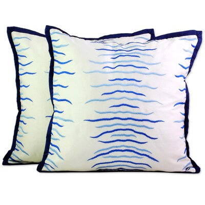 Rocheleau Embroidered Waves Pillow Cover