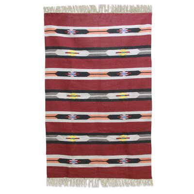 Regents Cherry Delight Hand-Woven Wool Red Area Rug