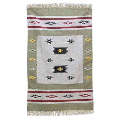 Regis Hand-Woven Wool Beige/White Area Rug