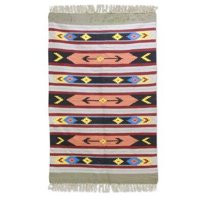 Renhold Colorful Hand-Woven Wool Black/Orange Area Rug