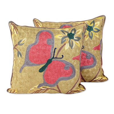 Bourassa Joyful Butterfly 100% Cotton Pillow Cover