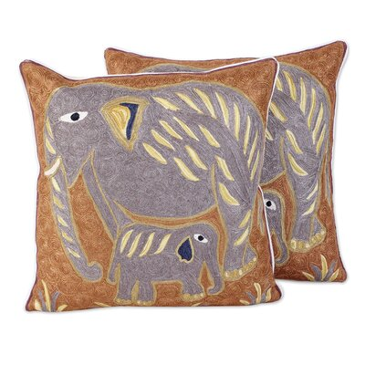 Bourbeau Indian Elephants 100% Cotton Pillow Cover