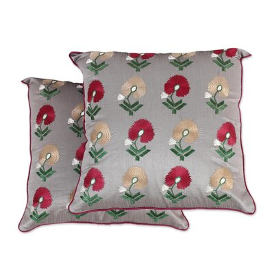 Erazo Floral Embroidered 100% Cotton Pillow Cover