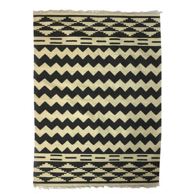 Ridley Indian Countryside Hand-Woven Wool Beige/Black Area Rug
