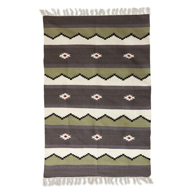 Richland Geometric Hand-Woven Wool Gray Area Rug