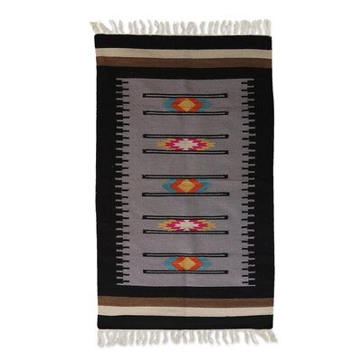 Richmond Graceful Venture Hand-Woven Wool Black/Gray Area Rug