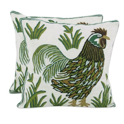 Bouldin Creek Rooster Crow 100% Cotton Pillow Cover