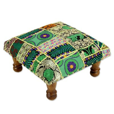 Salzburg Paisley Patch Embellished Cocktail Ottoman