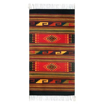 Weare Ancestral Hand-Woven Wool Red/Black Area Rug