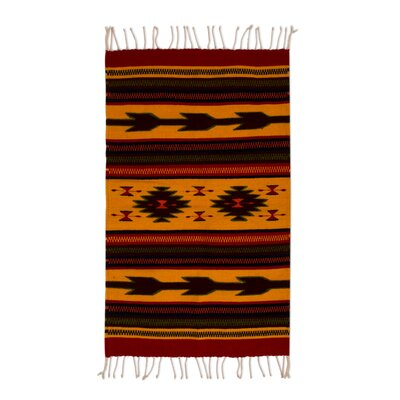 Mcfarlin Burning Arrows Hand-Woven Wool Yellow/Red/Black Area Rug