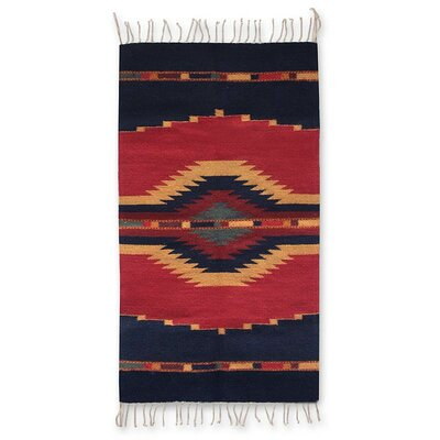 Reed Reflections Hand-Woven Wool Red/Blue Area Rug
