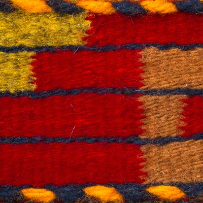 Weare Hand-Woven Wool Red/Orange Area Rug