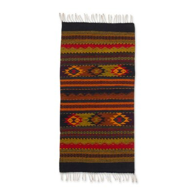 Weare Sierra Meadows Hand-Woven Wool Red/Black Area Rug
