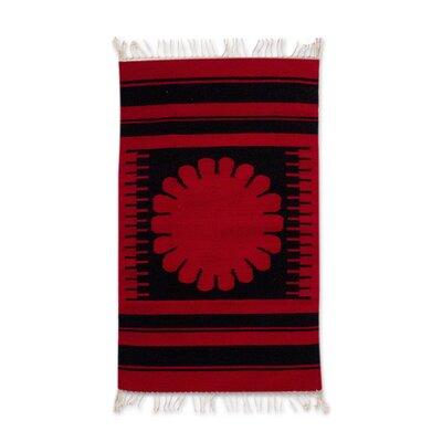 Mcfarlin Oaxaca Flower Hand-Woven Wool Black/Red Area Rug