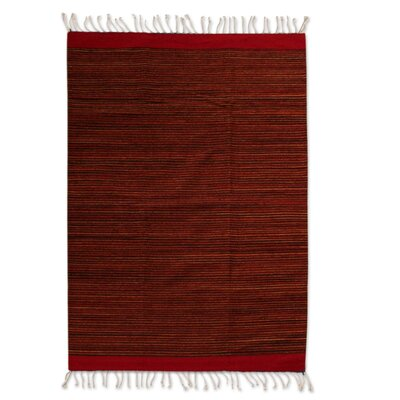 Reeside Hand-Woven Wool Red Area Rug