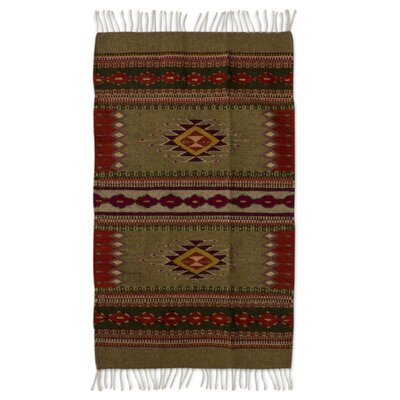 Mcfarlin Reach for the Stars Hand-Woven Green/Red Wool Area Rug