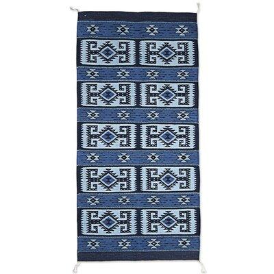 Rickard Hand-Woven Wool Blue Area Rug