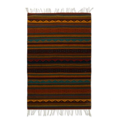 Weare Stripes Hand-Woven Wool Brown Area Rug