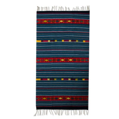 Richard Happiness of My Country Hand-Woven Wool Blue Area Rug
