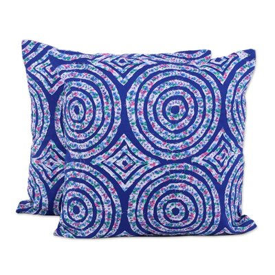 Rothbury Spheres and Diamonds 100% Cotton Pillow Cover Color: Blue