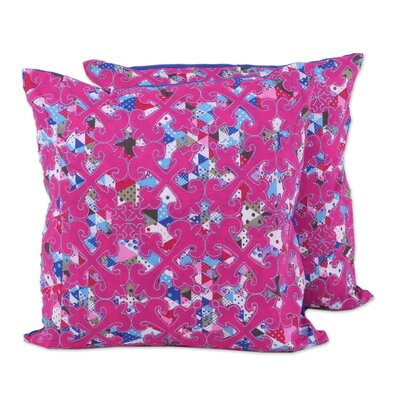 Rothbury Spheres and Diamonds 100% Cotton Pillow Cover Color: Fuchsia