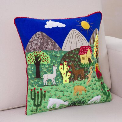 Andean Meadow Applique Cushion Cover