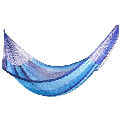 Maya Artists of the Yucatan Artisan Nylon Tree Hammock Color: Blue Caribbean