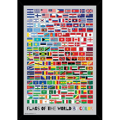 'Flags of the World by Colour' Framed Graphic Art in Green/Red/Blue 24508-PSA011110