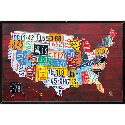 'License Plate Map of the US' Framed Poster 04189-PSA010205