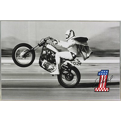 'Evel Knievel - Wheelie' Framed Photographic Print Poster 04133-PSA010235