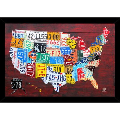 'License Plate Map of the US' Framed Graphic Art Print, Poster 24508-PSA010205