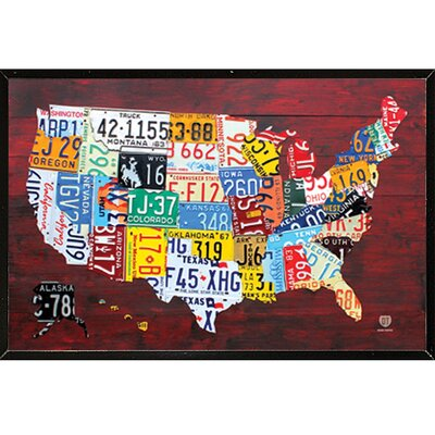 'License Plate Map of the US' Framed Graphic Art Print, Poster 04189-PSA010205