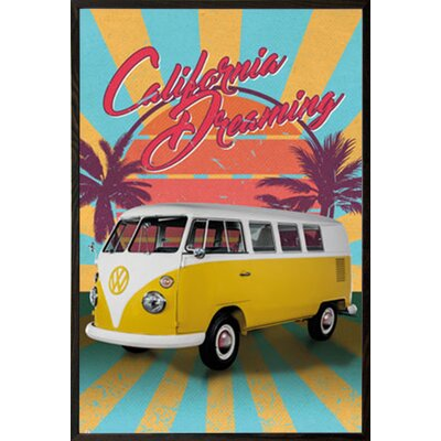 'VW Cali Retro' Framed Graphic Art Print Poster Format: Walnut Wood Framed