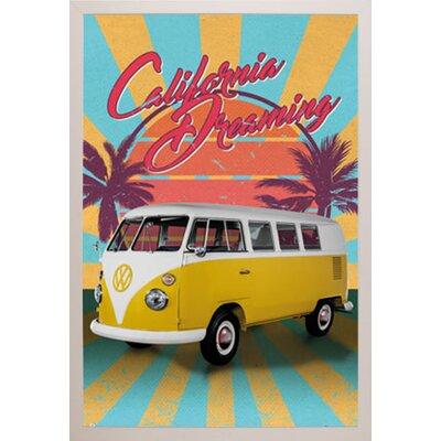 'VW Cali Retro' Framed Graphic Art Print Poster Format: White Framed