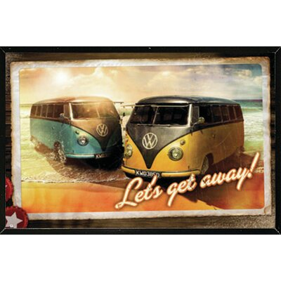 'VW Lets Get Away' Framed Graphic Art Print Poster